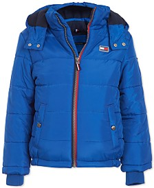 Tommy Hilfiger Baby Boys Steven Navy Blue Colorblocked Puffer Jacket
