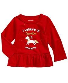 Baby Girls Unicorn-Print Cotton Peplum T-Shirt, Created For Macy's