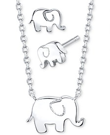2-Pc. Set Elephant Pendant Necklace & Stud Earrings in Fine Silver-Plate, Created For Macy's