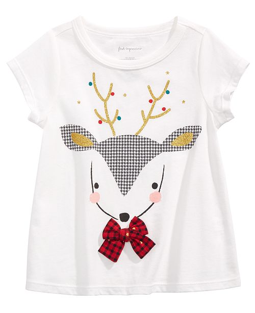 First Impressions Baby Girls Cotton Reindeer T-Shirt, Created For Macy's