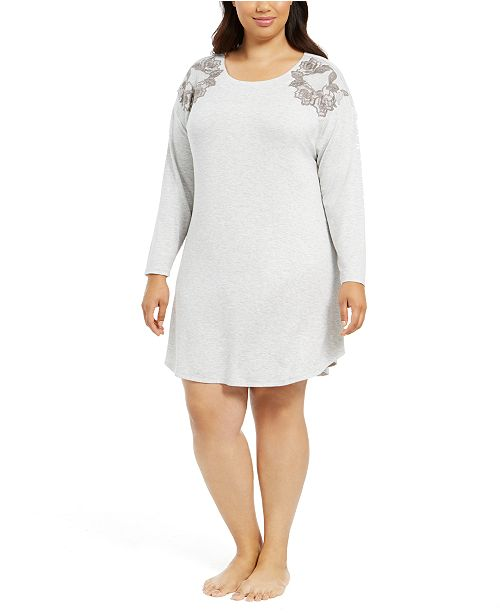 Charter Club Plus Size Floral-Embroidered Sleepshirt Nightgown, Created For Macy's