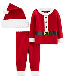 Baby Boys & Girls 3-Pc. Santa Hat, T-Shirt & Pants Set