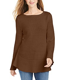 Petite Ruffle-Hem Tunic Sweater, Created For Macy's