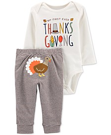 Baby Boys 2-Pc. Cotton Turkey Bodysuit & Pants Set