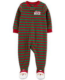 Baby Boys Footed Fleece Always Nice Santa Pajamas