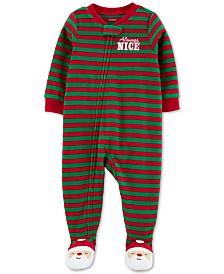Carter's Baby Boys Footed Fleece Always Nice Santa Pajamas
