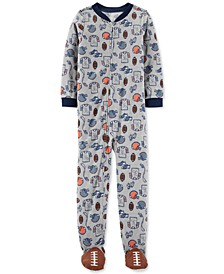 Little & Big Boys 1-Pc. Football Fleece Footie Pajamas