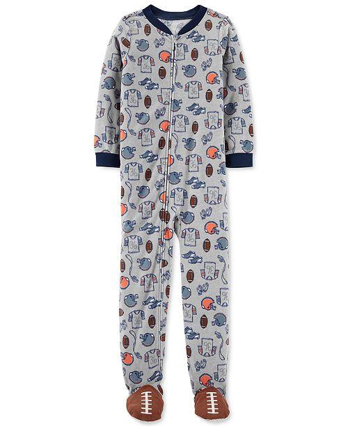 Carter's Little & Big Boys 1-Pc. Football Fleece Footie Pajamas