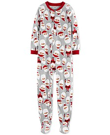 Little & Big Boys 1-Pc. Fleece Footed Santa Pajama