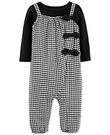 Baby Girls 2-Pc. T-Shirt & Gingham Jumpsuit Set