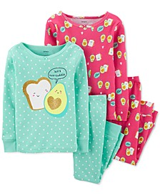Baby Girls 4-Pc. Cotton Avocado Toast Pajamas Set