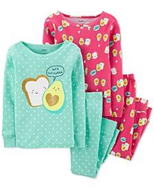 Baby Girls 4-Pc. Cotton Avocado Toast Pajamas Set