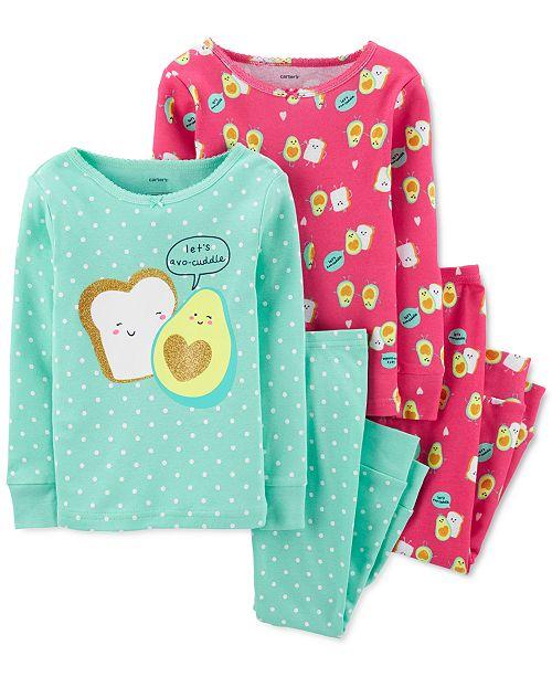 Carter's Baby Girls 4-Pc. Cotton Avocado Toast Pajamas Set