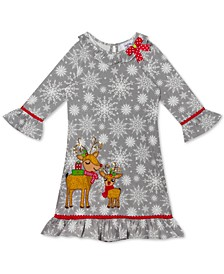 Toddler Girls Reindeer Snowflake Dress