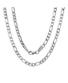 Steeltime Men's Stainless Steel Figaro Chain Link Necklace