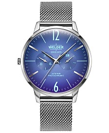 WELDER Men's Slim Stainless Steel Mesh Bracelet Watch 42mm