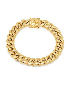 Men's 18k gold Plated Stainless Steel Miami Cuban Chain Link Style Bracelet with 12mm Box Clasp Bracelet