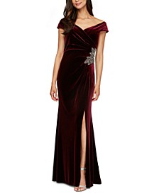 Off-The-Shoulder Velvet Gown
