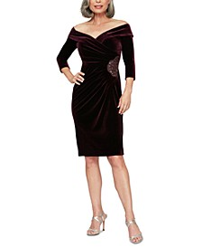Petite Velvet Off-The-Shoulder Sheath Dress