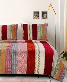 Greenland Home Fashions Marley Cranberry Quilt Set, 3-Piece Full/Queen