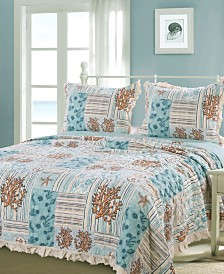 Greenland Home Fashions Key West Quilt Set, 3-Piece Full/Queen