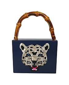 Milanblocks Bamboo Handle Leopard Acrylic Box Clutch