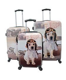 Dog Printed 3-Pc. Hardside Luggage Set