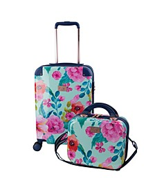 """Floral 2 Piece 20"""" Carry-On and Beauty Case Set"""