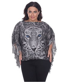 White Mark Plus Size Tiger Print Poncho