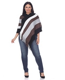White Mark Plus Size Olenna Fringe Poncho