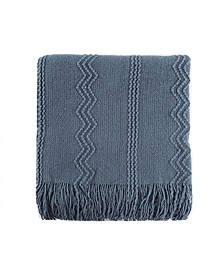 """Home Woven Raised Zigzag, Chain Patterns and Tasseled End Throw, 50"""" X 60"""""""