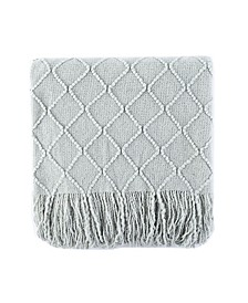 "Home Knit Diamond Patterned Throw, 80"" X 52"""