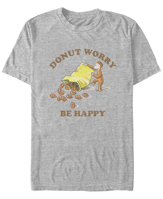 Curious George Men's George Donut Worry Be Happy Short Sleeve T-Shirt