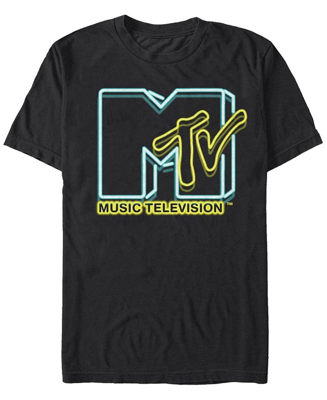 MTV Men's Neon Lights Logo Short Sleeve T-Shirt