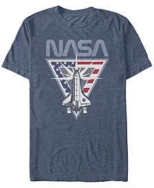 NASA Men's American Flag Style Spaceship Launching Short Sleeve T-Shirt
