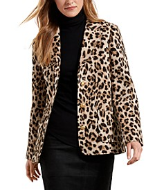 Leopard-Print Jacquard Blazer