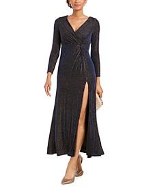 Petite Metallic Surplice Gown