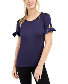 Tie-Sleeve Velvet-Contrast Top, Created For Macy's