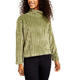 Juniors' Cozy Mock-Neck Ribbed Top