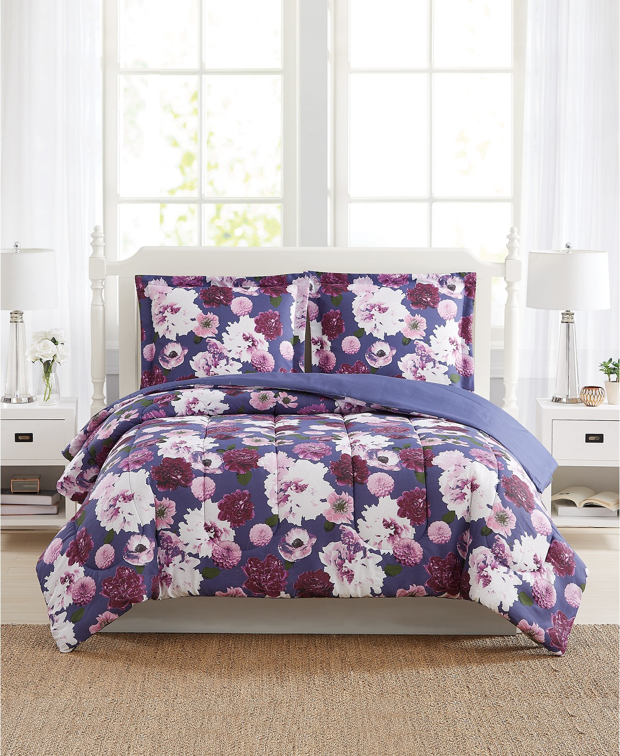 Bloomy Reversible 3-Pc. Comforter Mini Sets, Created for Macy's