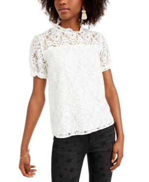 Edwardian Blouses | White & Black Lace Blouses & Sweaters CeCe Puffed-Sleeve Lace Top $89.00 AT vintagedancer.com