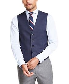 Men's Modern-Fit THFlex Stretch Navy Blue Plaid Vest