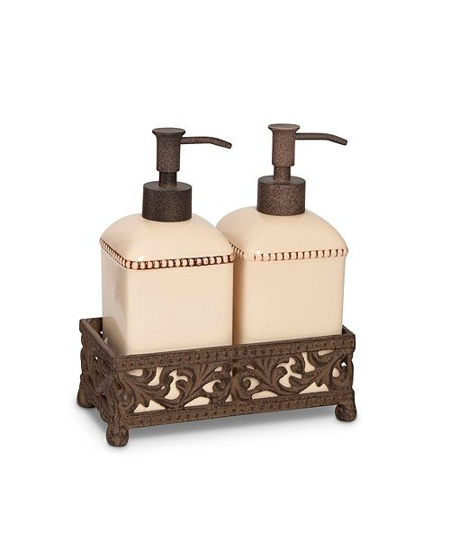 The GG Collection Scrolled Acanthus Leaf Cream Ceramic Soap & Lotion Set With Metal Base Holder