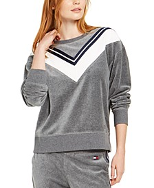 Velour Varsity Stripe Top