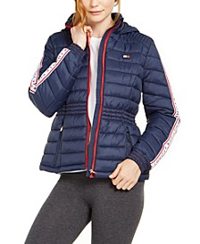 Cinched-Waist Quilted Puffer Jacket