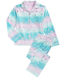 Max & Olivia Little & Big Girls 2-Pc. Snowflake-Print Fleece Pajama Set