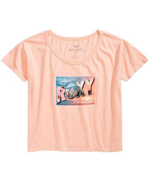 Roxy Big Girls Greetings-Print Cotton T-Shirt