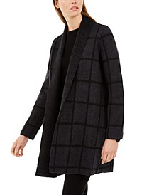 Wool Shawl-Collar Windowpane Cardigan