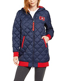 Quilted Varsity Hooded Puffer Jacket