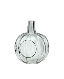 Northlight Transparent Glass Pumpkin Pillar Candle Holder